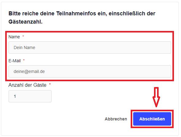 3. name und email eintragen und abschließen